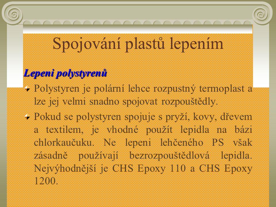 Spojování plastů lepením Lepeni polyamidů Nejvhodnější jsou reaktivní lepidla na bázi N- substituovaného kaprolaktamu (silon 40) butadienakrylonitrilo
