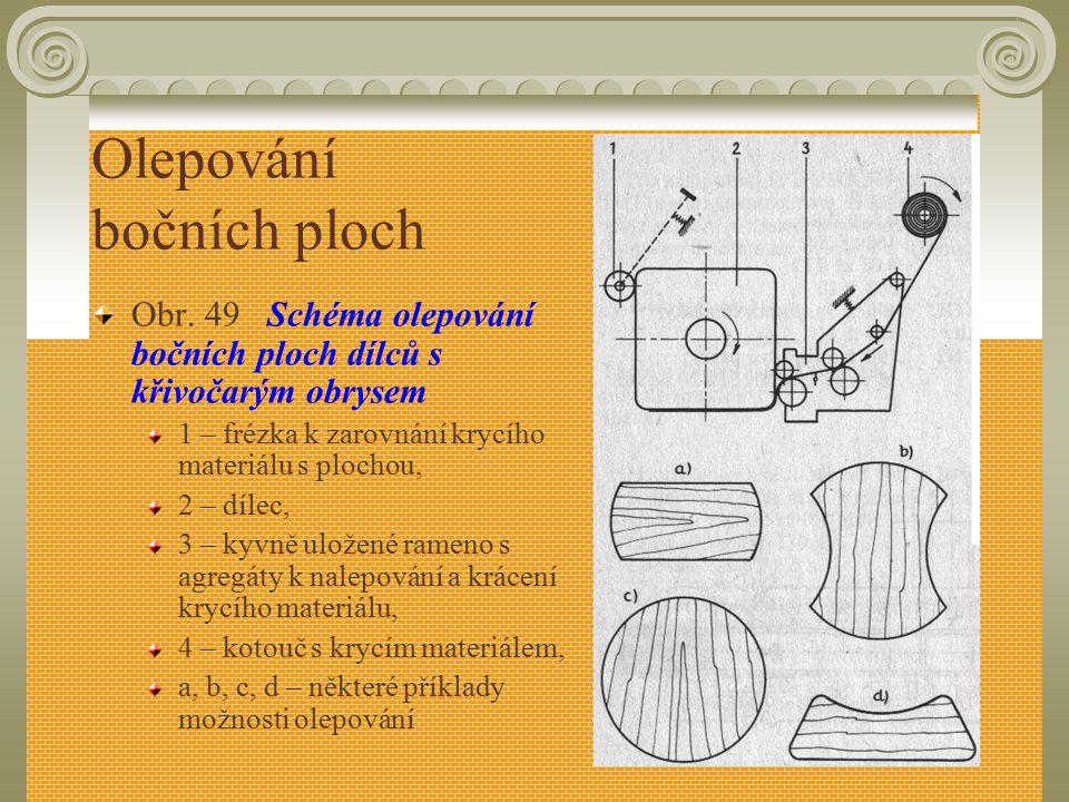 Olepování bočních ploch Obr. 48 Schéma znázornění olepovačky bočních ploch metodou teplo-studenou 1 – nános lepidla a přísun olepovacího materiálu, 2