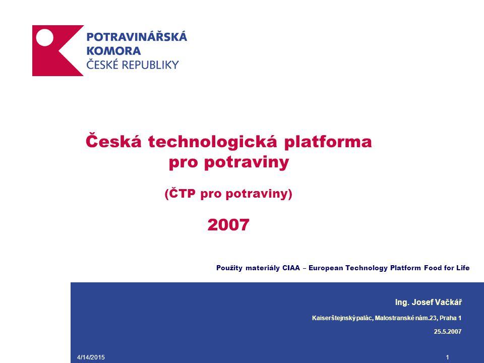 4/14/20151 Česká technologická platforma pro potraviny (ČTP pro potraviny) 2007 Ing. Josef Vačkář Kaiserštejnský palác, Malostranské nám.23, Praha 1 2