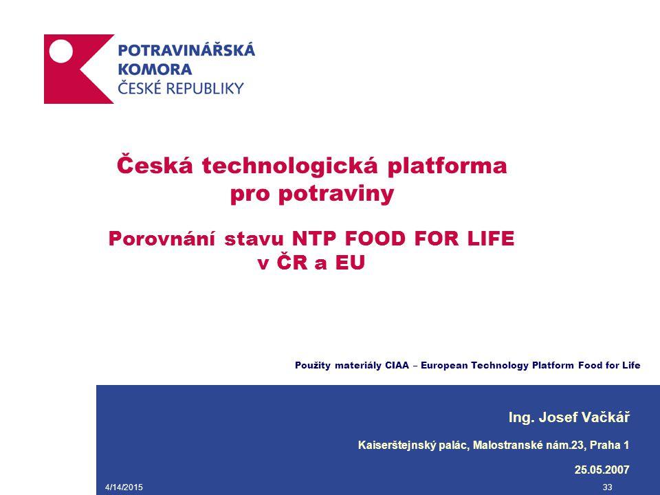 4/14/201533 Česká technologická platforma pro potraviny Porovnání stavu NTP FOOD FOR LIFE v ČR a EU Ing. Josef Vačkář Kaiserštejnský palác, Malostrans