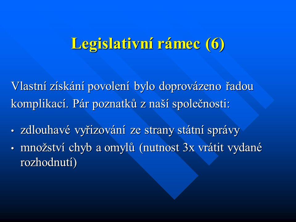 Legislativní rámec (6) Vlastní získání povolení bylo doprovázeno řadou komplikací. Pár poznatků z naší společnosti: zdlouhavé vyřizování ze strany stá