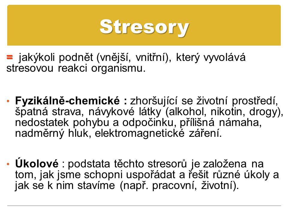 Stresory = = jakýkoli podnět (vnější, vnitřní), který vyvolává stresovou reakci organismu. Fyzikálně-chemické : zhoršující se životní prostředí, špatn