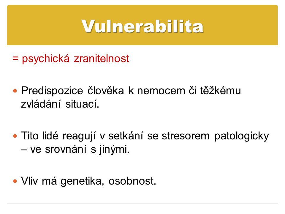 Vulnerabilita = psychická zranitelnost Predispozice člověka k nemocem či těžkému zvládání situací.