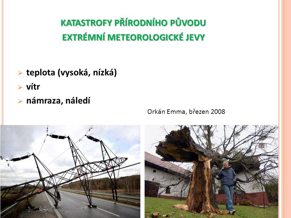 KATASTROFY PŘÍRODNÍHO PŮVODU EXTRÉMNÍ METEOROLOGICKÉ JEVY  teplota (vysoká, nízká)  vítr  námraza, náledí Orkán Emma, březen 2008