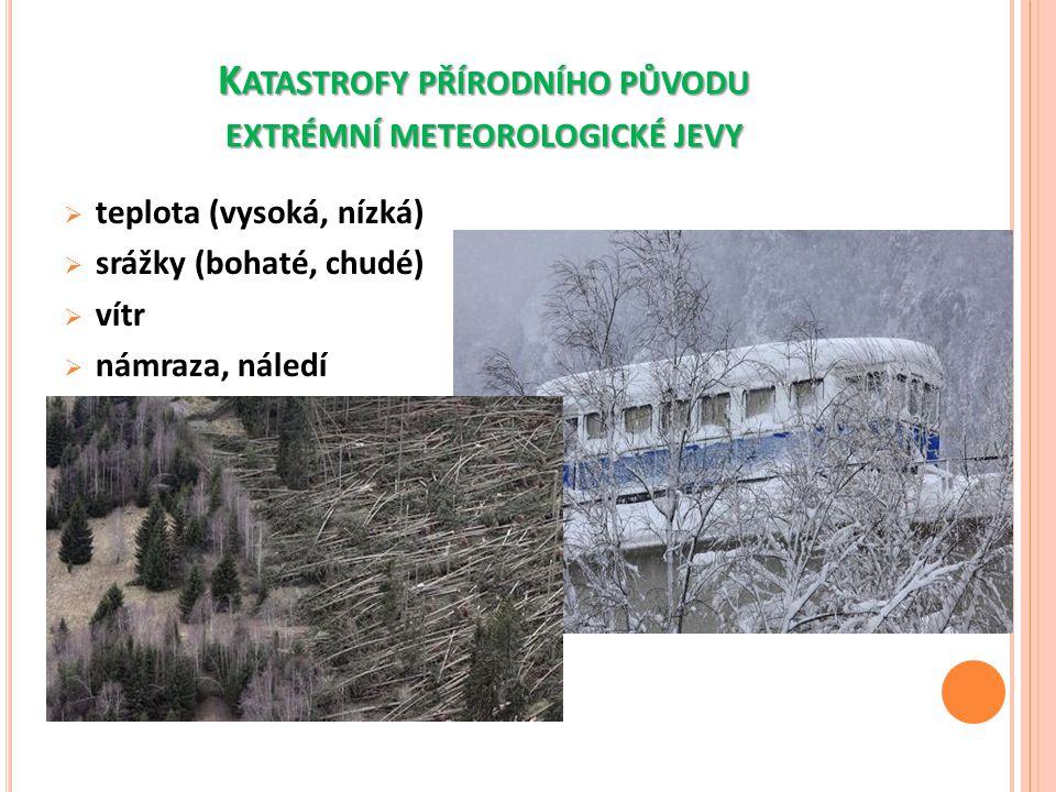 K ATASTROFY PŘÍRODNÍHO PŮVODU EXTRÉMNÍ METEOROLOGICKÉ JEVY  teplota (vysoká, nízká)  srážky (bohaté, chudé)  vítr  námraza, náledí