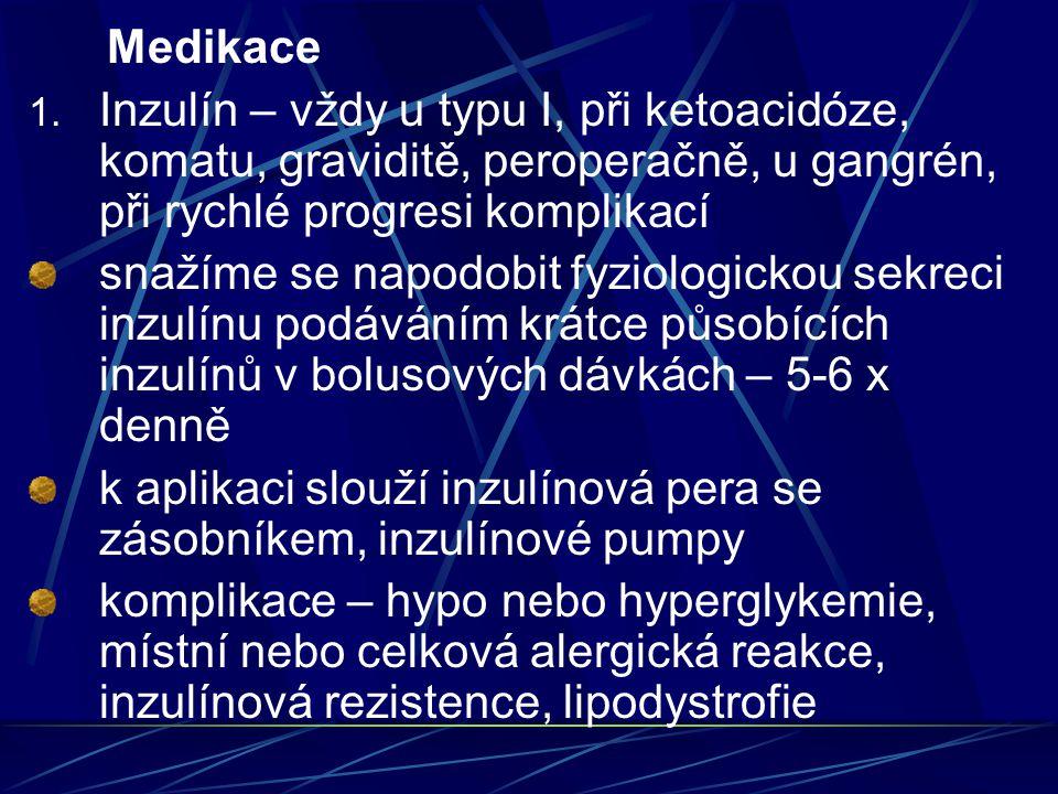 Medikace 1. Inzulín – vždy u typu I, při ketoacidóze, komatu, graviditě, peroperačně, u gangrén, při rychlé progresi komplikací snažíme se napodobit f
