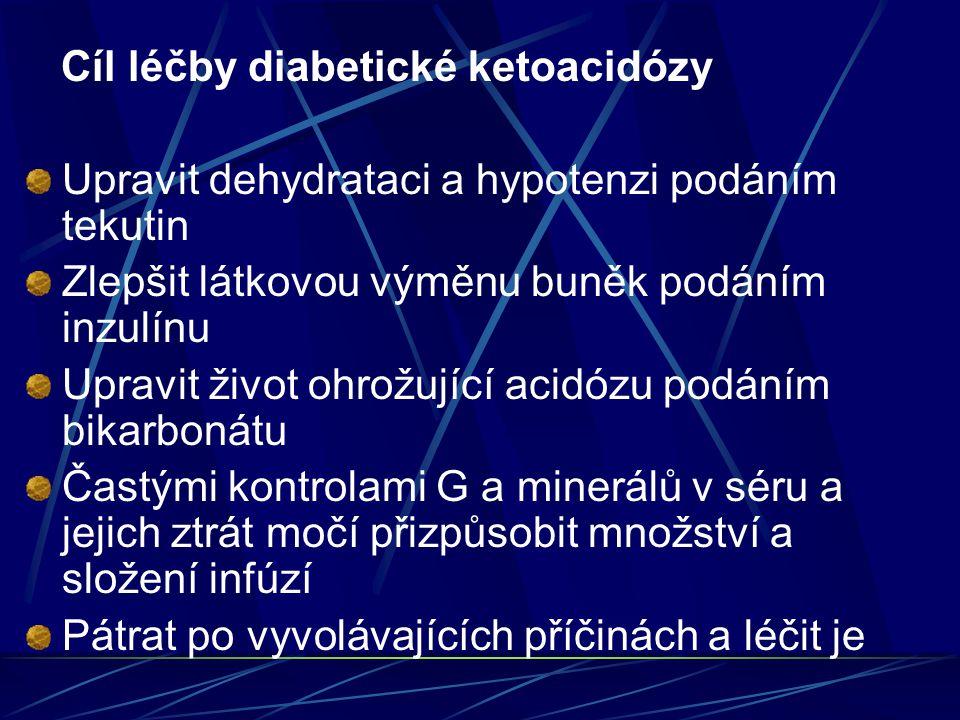 Cíl léčby diabetické ketoacidózy Upravit dehydrataci a hypotenzi podáním tekutin Zlepšit látkovou výměnu buněk podáním inzulínu Upravit život ohrožují