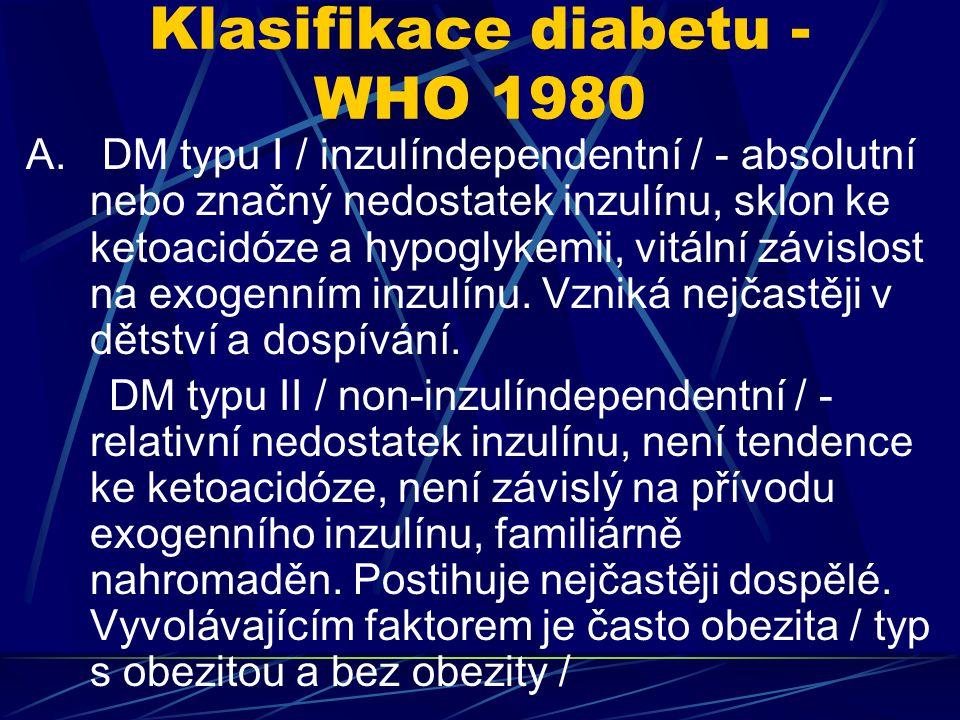 Klasifikace diabetu - WHO 1980 A. DM typu I / inzulíndependentní / - absolutní nebo značný nedostatek inzulínu, sklon ke ketoacidóze a hypoglykemii, v