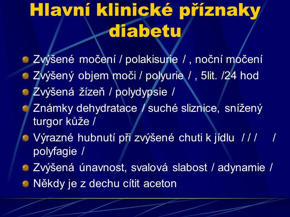 Hlavní klinické příznaky diabetu Zvýšené močení / polakisurie /, noční močení Zvýšený objem moči / polyurie /, 5lit. /24 hod Zvýšená žízeň / polydypsi