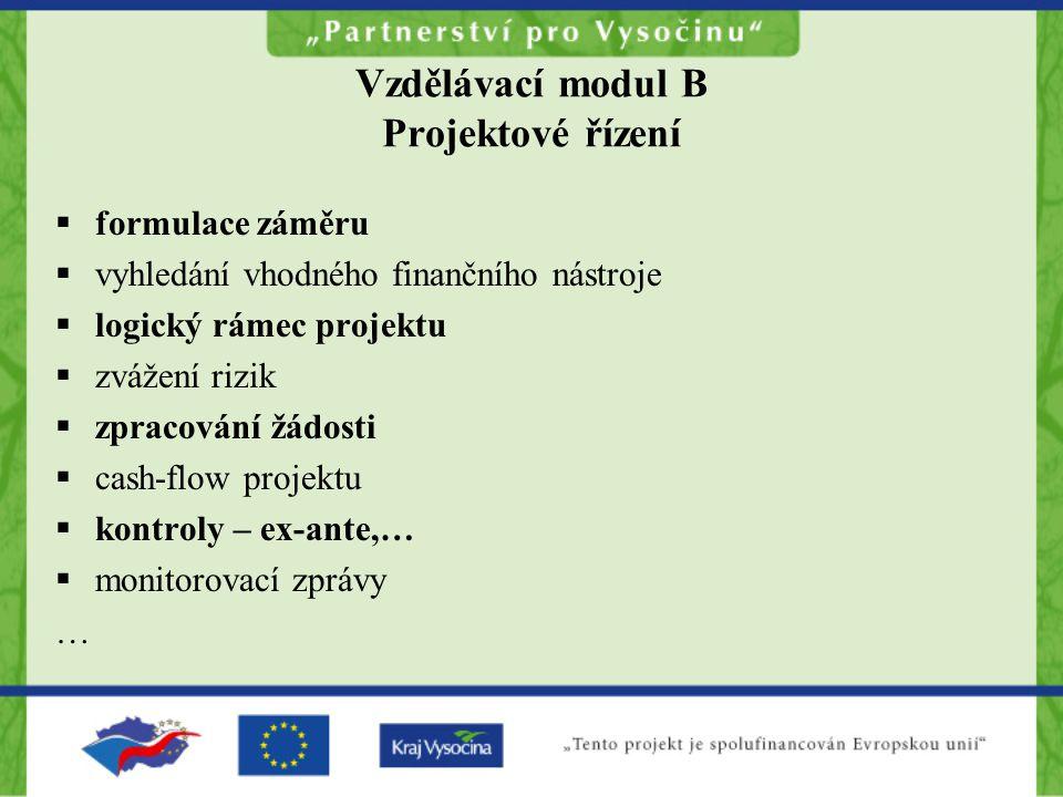 Vzdělávací modul B Projektové řízení  formulace záměru  vyhledání vhodného finančního nástroje  logický rámec projektu  zvážení rizik  zpracování
