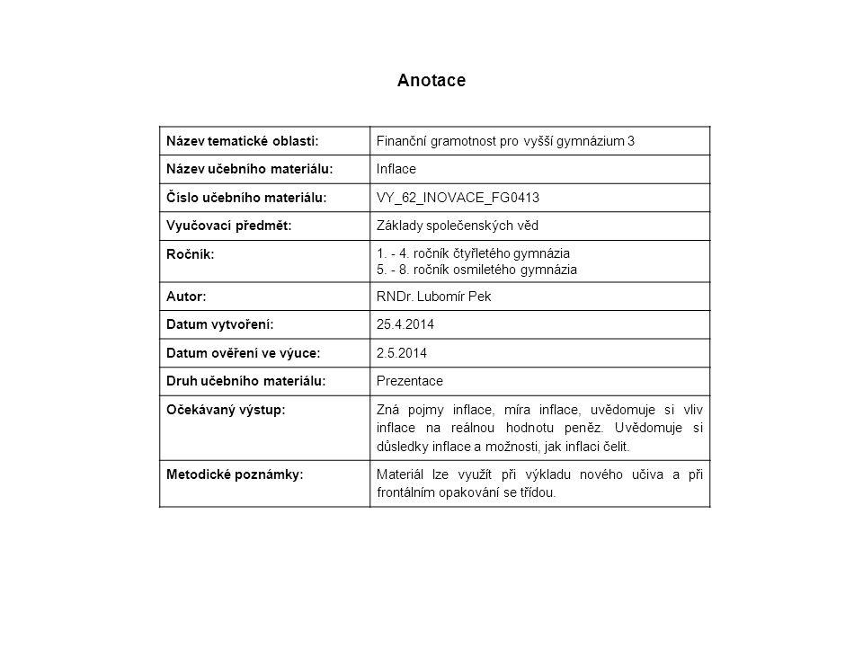 Anotace Název tematické oblasti: Finanční gramotnost pro vyšší gymnázium 3 Název učebního materiálu: Inflace Číslo učebního materiálu: VY_62_INOVACE_F