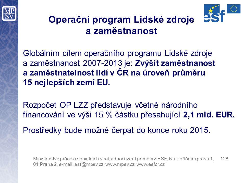 Globálním cílem operačního programu Lidské zdroje a zaměstnanost 2007-2013 je: Zvýšit zaměstnanost a zaměstnatelnost lidí v ČR na úroveň průměru 15 ne