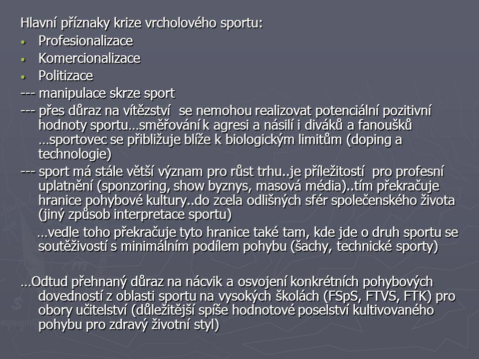 Hlavní příznaky krize vrcholového sportu: Profesionalizace Profesionalizace Komercionalizace Komercionalizace Politizace Politizace --- manipulace skr