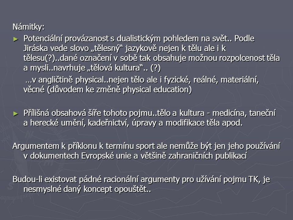 """Námitky: ► Potenciální provázanost s dualistickým pohledem na svět.. Podle Jiráska vede slovo """"tělesný"""" jazykově nejen k tělu ale i k tělesu(?)..dané"""