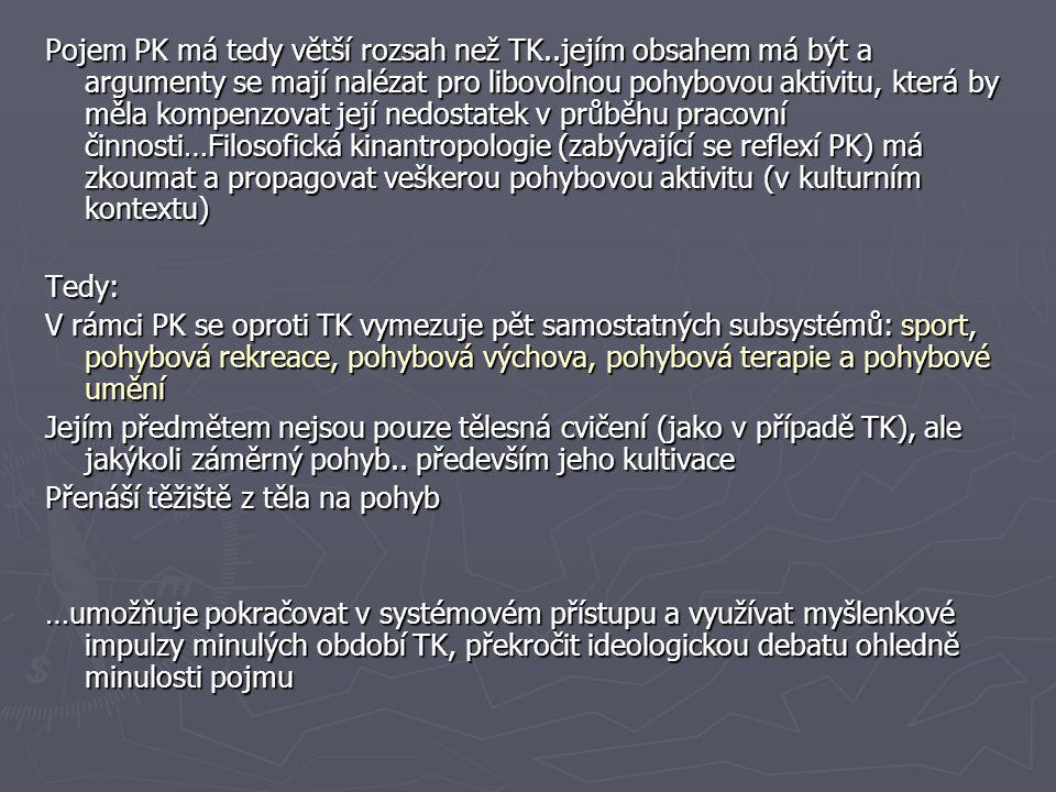 Pojem PK má tedy větší rozsah než TK..jejím obsahem má být a argumenty se mají nalézat pro libovolnou pohybovou aktivitu, která by měla kompenzovat je