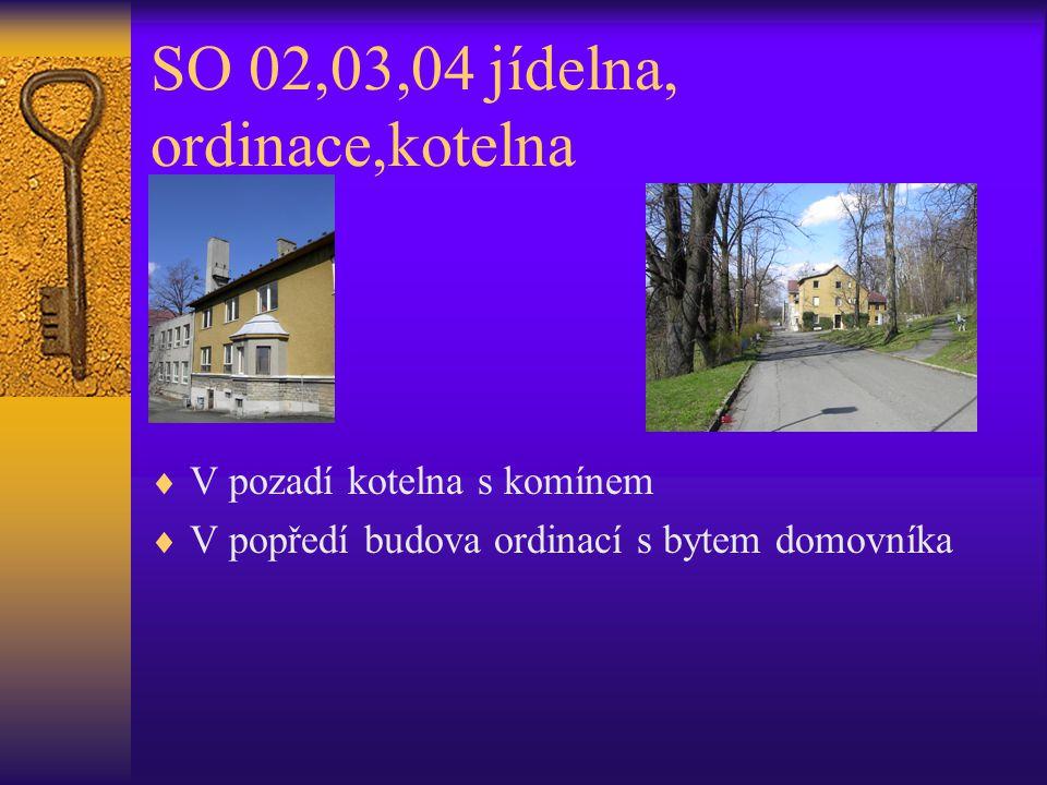 SO 02,03,04 jídelna, ordinace,kotelna  V pozadí kotelna s komínem  V popředí budova ordinací s bytem domovníka