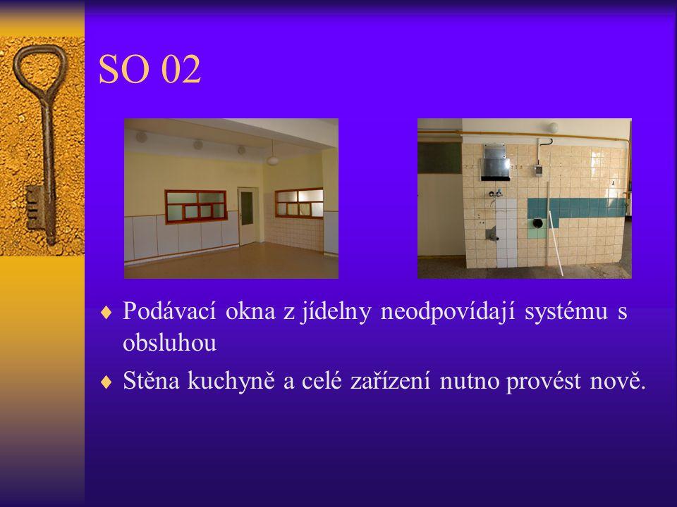 SO 02  Podávací okna z jídelny neodpovídají systému s obsluhou  Stěna kuchyně a celé zařízení nutno provést nově.