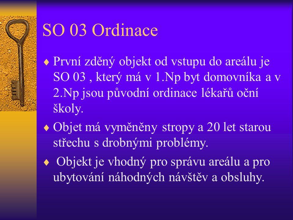 SO 03 Ordinace  První zděný objekt od vstupu do areálu je SO 03, který má v 1.Np byt domovníka a v 2.Np jsou původní ordinace lékařů oční školy.  Ob