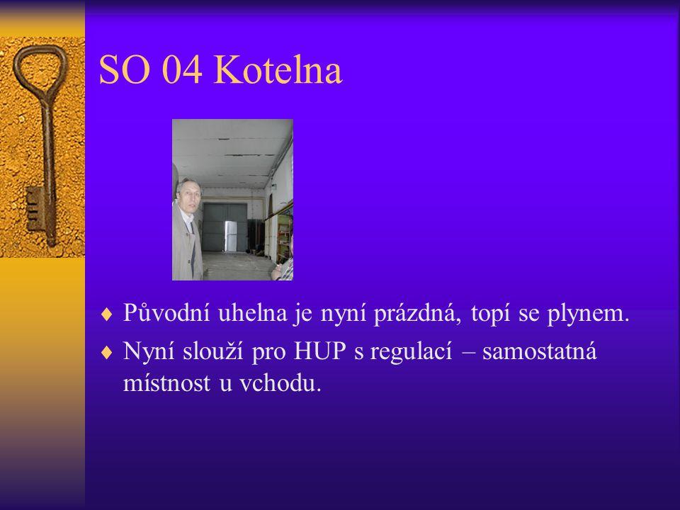 SO 04 Kotelna  Původní uhelna je nyní prázdná, topí se plynem.  Nyní slouží pro HUP s regulací – samostatná místnost u vchodu.