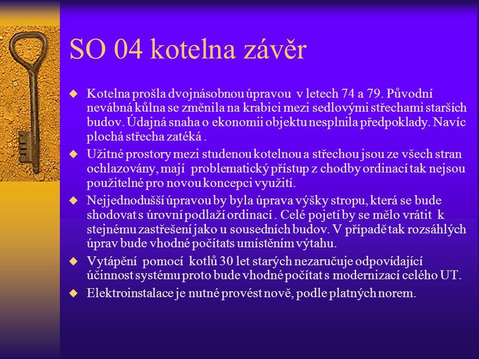 SO 04 kotelna závěr  Kotelna prošla dvojnásobnou úpravou v letech 74 a 79. Původní nevábná kůlna se změnila na krabici mezi sedlovými střechami starš