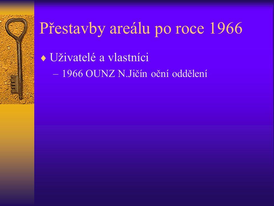 Přestavby areálu po roce 1966  Uživatelé a vlastníci –1966 OUNZ N.Jičín oční oddělení