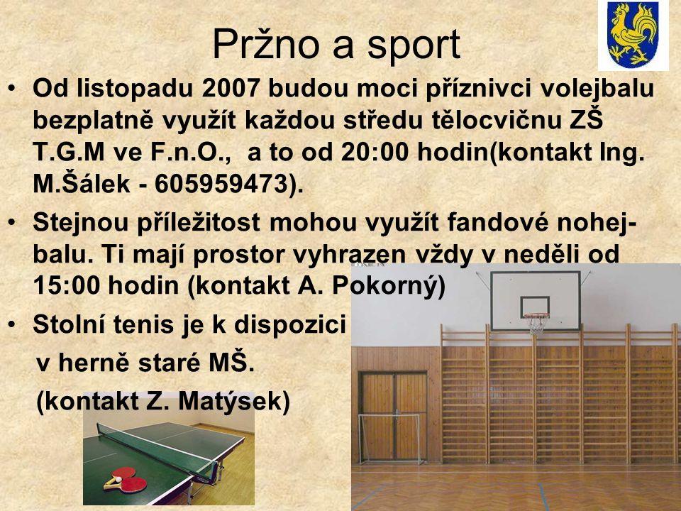 Pržno a sport Od listopadu 2007 budou moci příznivci volejbalu bezplatně využít každou středu tělocvičnu ZŠ T.G.M ve F.n.O., a to od 20:00 hodin(konta