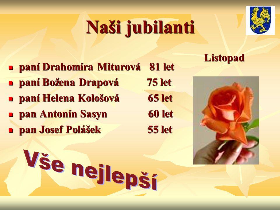 Naši jubilanti paní Drahomíra Miturová 81 let paní Drahomíra Miturová 81 let paní Božena Drapová 75 let paní Božena Drapová 75 let paní Helena Kološov