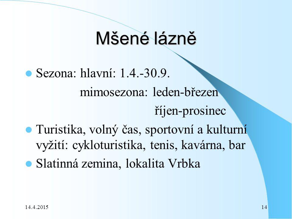 14.4.201514 Mšené lázně Sezona: hlavní: 1.4.-30.9.