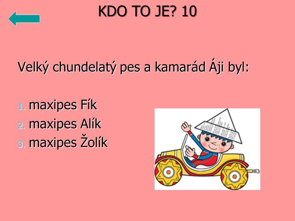 Velký chundelatý pes a kamarád Áji byl: 1. maxipes Fík 2. maxipes Alík 3. maxipes Žolík KDO TO JE? 10