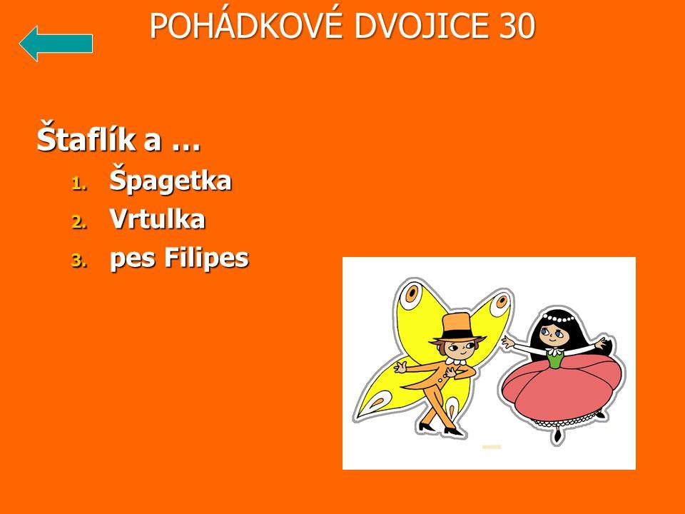 Štaflík a … 1. Špagetka 2. Vrtulka 3. pes Filipes POHÁDKOVÉ DVOJICE 30