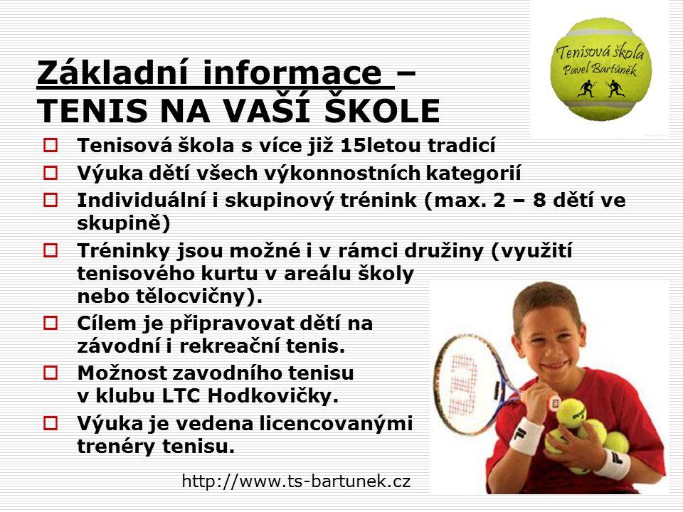 Tenisová škola na ZŠ Květnového vítězství Prezentace Tenisová škola Pavel Bartůněk http://www.ts-bartunek.cz tel. 602 367 023 http://www.ts-bartunek.c
