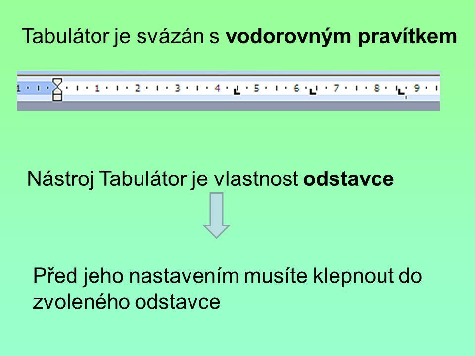 Nástroj Tabulátor je vlastnost odstavce Tabulátor je svázán s vodorovným pravítkem Před jeho nastavením musíte klepnout do zvoleného odstavce
