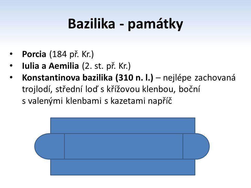 Bazilika - památky Porcia (184 př. Kr.) Iulia a Aemilia (2. st. př. Kr.) Konstantinova bazilika (310 n. l.) – nejlépe zachovaná trojlodí, střední loď