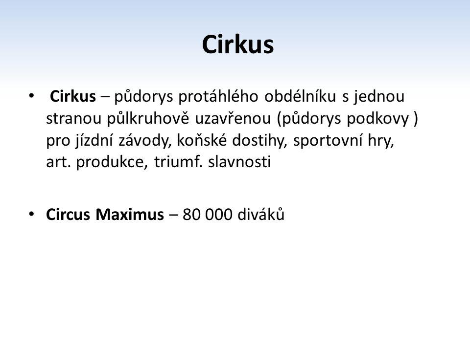 Cirkus Cirkus – půdorys protáhlého obdélníku s jednou stranou půlkruhově uzavřenou (půdorys podkovy ) pro jízdní závody, koňské dostihy, sportovní hry
