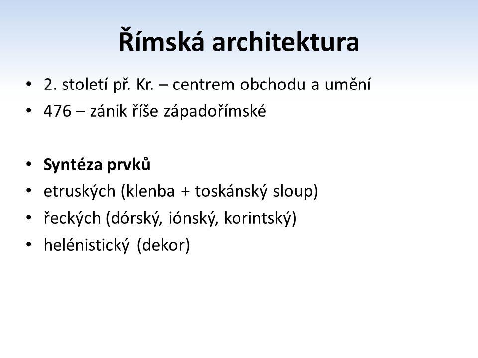 Charakteristika římské architektury proti řecké architektuře článkové a exteriérové byla římská architektura bloková a interiérová proti řeckému architrávovému principu stál římský archivoltový princip proti sloupořadí s kladím plná zeď s pilířem a klenbou Řím – interiérová architektura, bloková zeď – plná zeď, klenba, archivolta