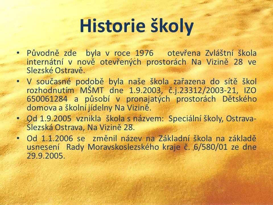 Historie školy Původně zde byla v roce 1976 otevřena Zvláštní škola internátní v nově otevřených prostorách Na Vizině 28 ve Slezské Ostravě. V současn