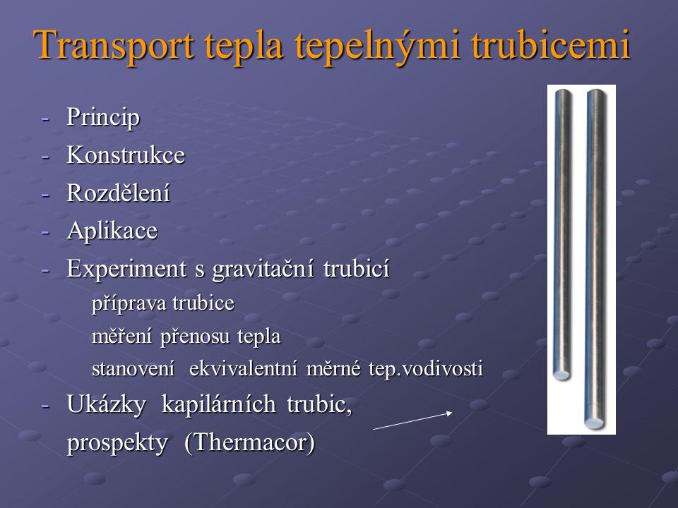 Transport tepla tepelnými trubicemi -Princip -Konstrukce -Rozdělení -Aplikace -Experiment s gravitační trubicí příprava trubice příprava trubice měření přenosu tepla měření přenosu tepla stanovení ekvivalentní měrné tep.vodivosti stanovení ekvivalentní měrné tep.vodivosti -Ukázky kapilárních trubic, prospekty (Thermacor) prospekty (Thermacor)