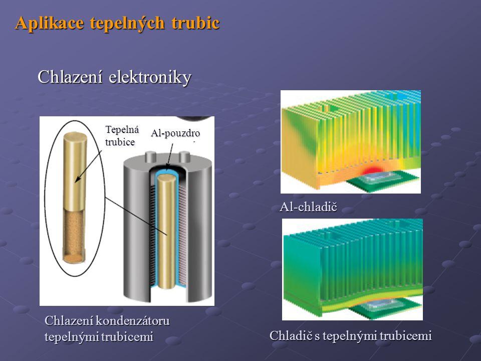 Aplikace tepelných trubic Aplikace tepelných trubic Chlazení elektroniky Chlazení elektroniky Al-chladič Chladič s tepelnými trubicemi Chlazení kondenzátoru tepelnými trubicemi Tepelná trubice Al-pouzdro