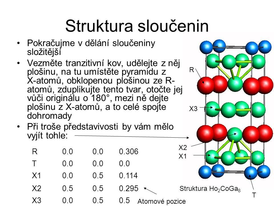 Struktura sloučenin Pokračujme v dělání sloučeniny složitější Vezměte tranzitivní kov, udělejte z něj plošinu, na tu umístěte pyramidu z X-atomů, obkl