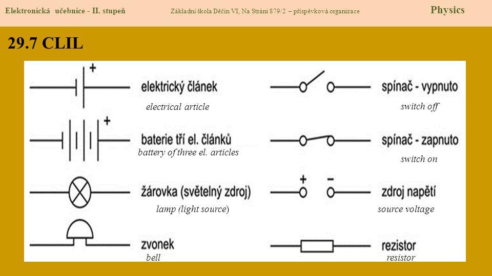 29.7 CLIL Elektronická učebnice - II. stupeň Základní škola Děčín VI, Na Stráni 879/2 – příspěvková organizace Physics electrical article switch off s