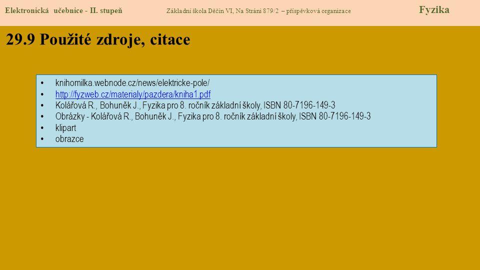 29.9 Použité zdroje, citace Elektronická učebnice - II. stupeň Základní škola Děčín VI, Na Stráni 879/2 – příspěvková organizace Fyzika knihomilka.web