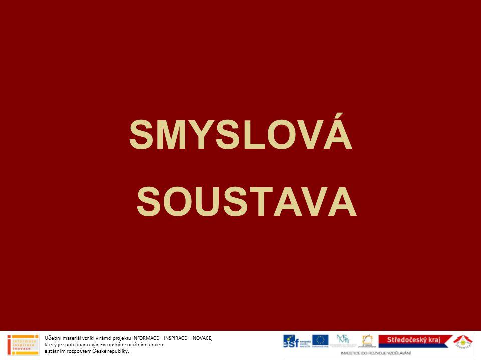 SMYSLOVÁ SOUSTAVA Učební materiál vznikl v rámci projektu INFORMACE – INSPIRACE – INOVACE, který je spolufinancován Evropským sociálním fondem a státním rozpočtem České republiky.