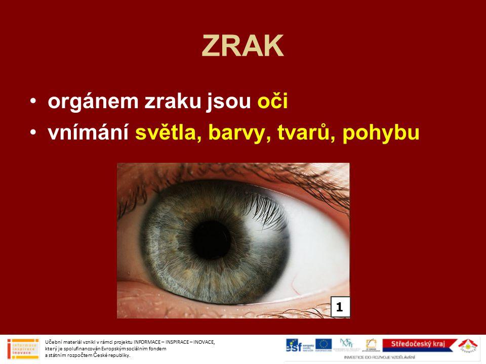 ZRAK orgánem zraku jsou oči vnímání světla, barvy, tvarů, pohybu Učební materiál vznikl v rámci projektu INFORMACE – INSPIRACE – INOVACE, který je spolufinancován Evropským sociálním fondem a státním rozpočtem České republiky.