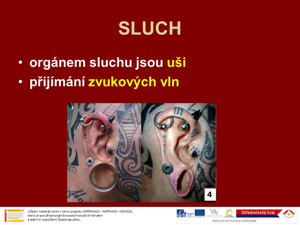 SLUCH orgánem sluchu jsou uši přijímání zvukových vln Učební materiál vznikl v rámci projektu INFORMACE – INSPIRACE – INOVACE, který je spolufinancován Evropským sociálním fondem a státním rozpočtem České republiky.