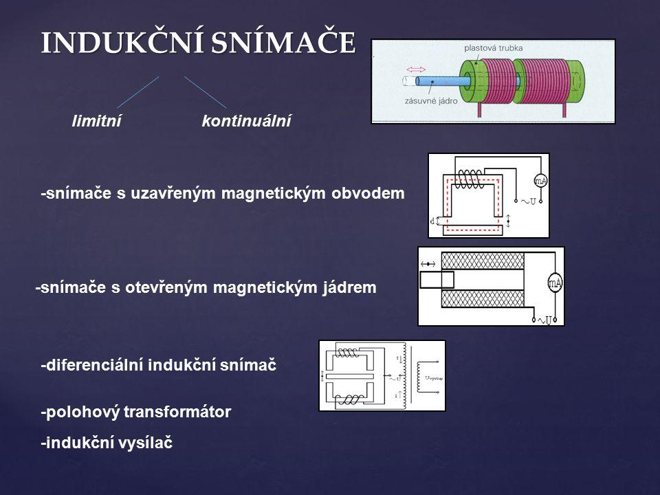 INDUKČNÍ SNÍMAČE INDUKČNÍ SNÍMAČE limitníkontinuální -snímače s uzavřeným magnetickým obvodem -snímače s otevřeným magnetickým jádrem -diferenciální i