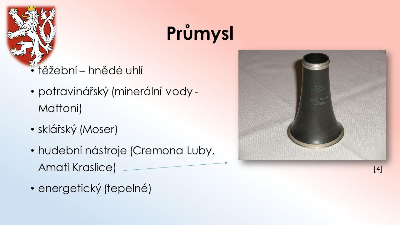 Průmysl těžební – hnědé uhlí potravinářský (minerální vody - Mattoni) sklářský (Moser) hudební nástroje (Cremona Luby, Amati Kraslice) energetický (te