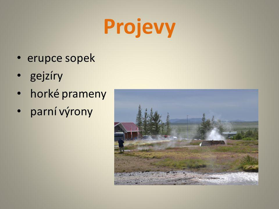 Projevy erupce sopek gejzíry horké prameny parní výrony
