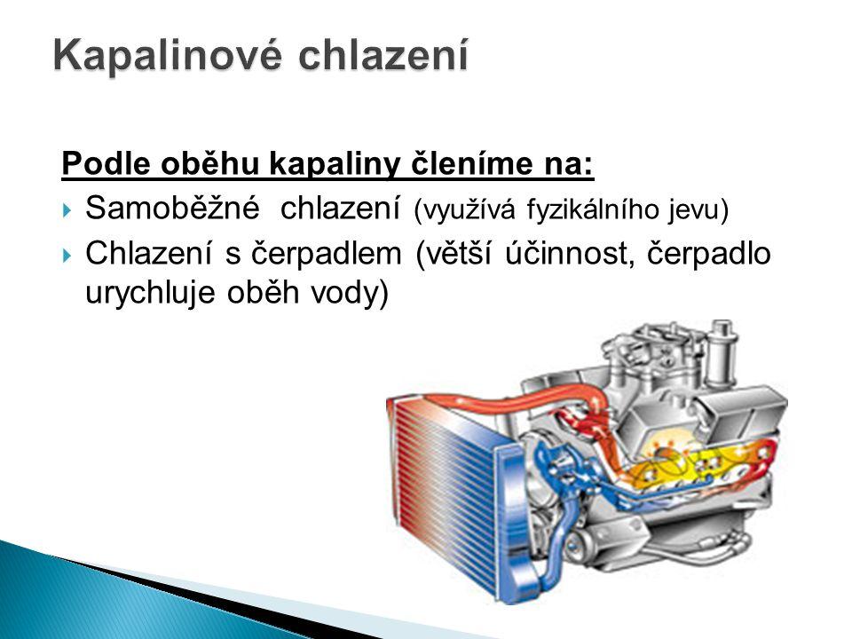 Podle oběhu kapaliny členíme na:  Samoběžné chlazení (využívá fyzikálního jevu)  Chlazení s čerpadlem (větší účinnost, čerpadlo urychluje oběh vody)