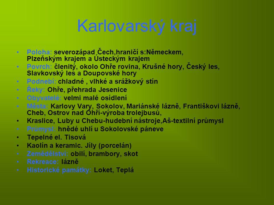Mapka Karlovarského kraje: