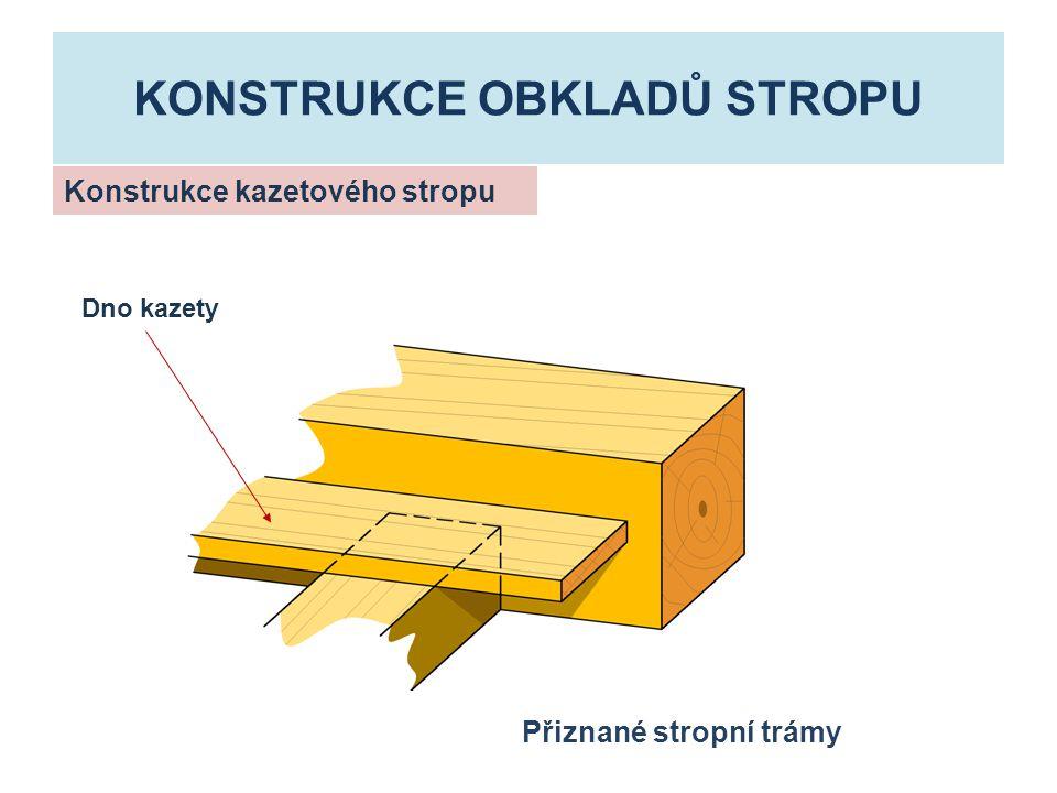 KONSTRUKCE OBKLADŮ STROPU Konstrukce kazetového stropu Přiznané stropní trámy Dno kazety